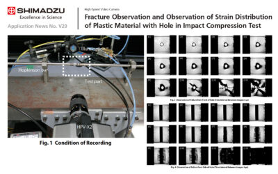 Fracture Observation and Observation of Strain Distribution of Plastic Material with Hole in Impact Compression Test