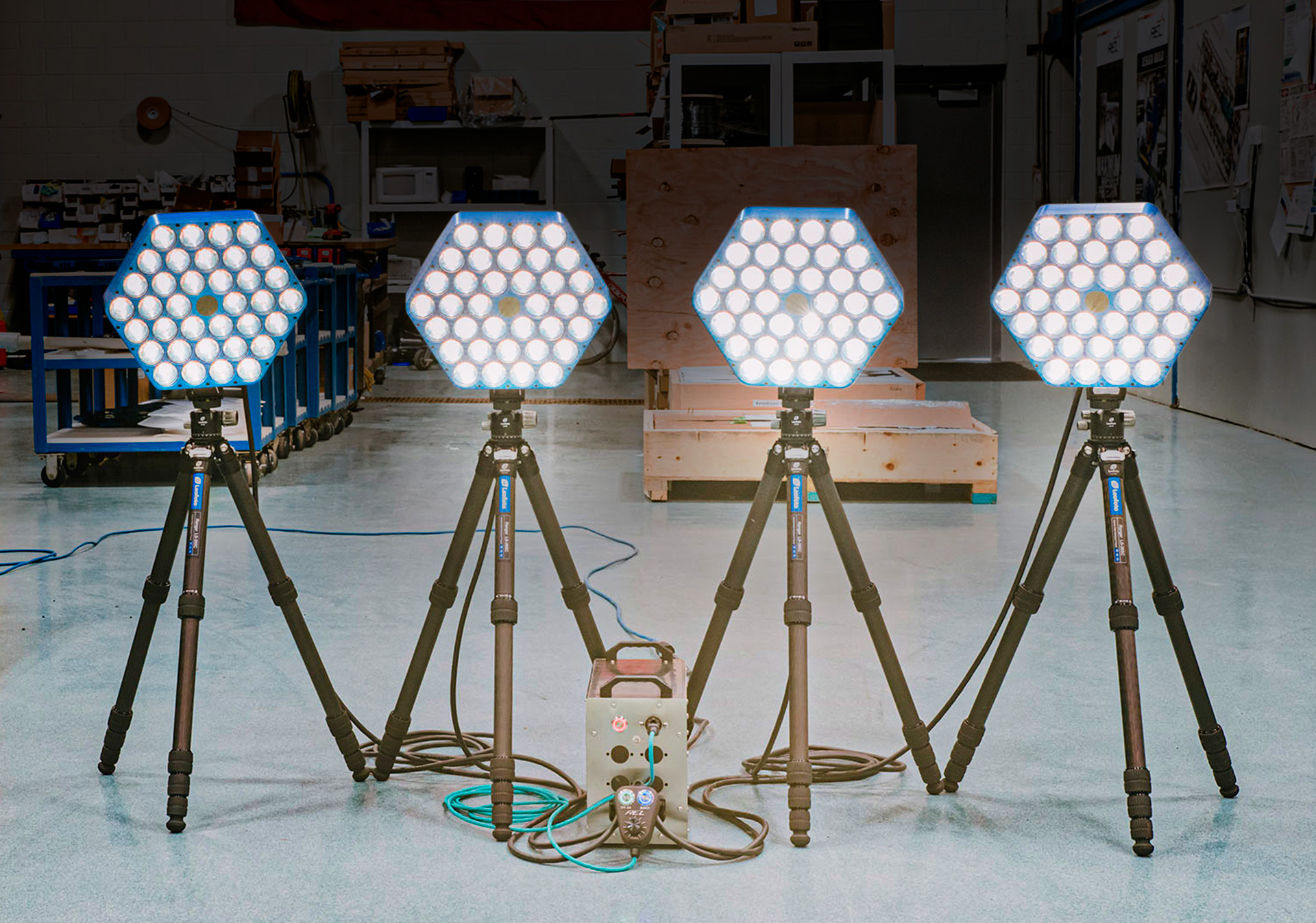 REL FLC-1600 base modules mounted individually on tripods with optional mounting kit.
