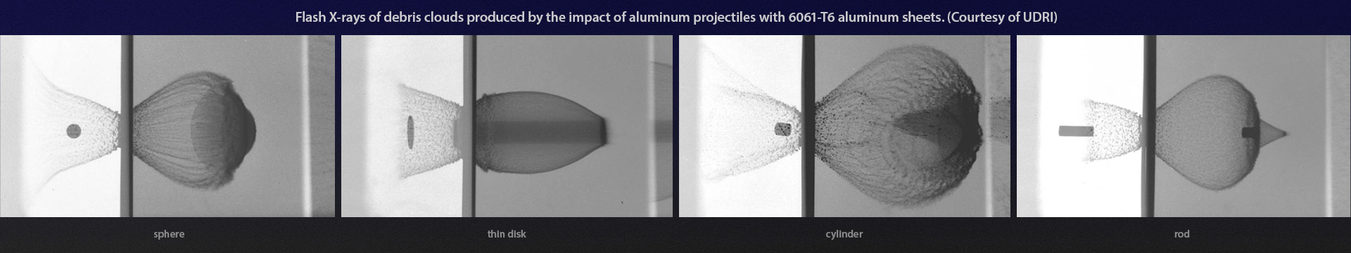 Flash X-rays of debris clouds produced by the impact of aluminum projectiles with 6061-T6 aluminum sheets. (Courtesy of UDRI)